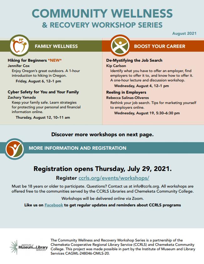 August Community Workshop Schedule