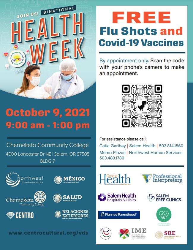 Binational Health Week Free Vaccines (Vacunas Gratuitas, tambien en espanol)